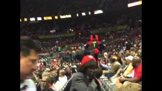 Atlanta Hawks Mascot Crushes His Nuts On A Rail