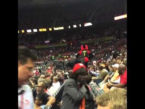 Atlanta Hawks Mascot Crushes His Nuts On A Rail