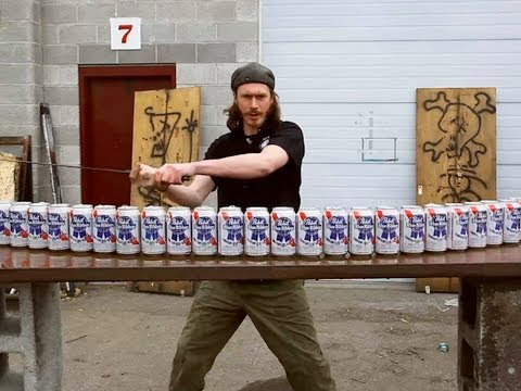Bloke With A Sword Vs Twenty-Four Beer Cans