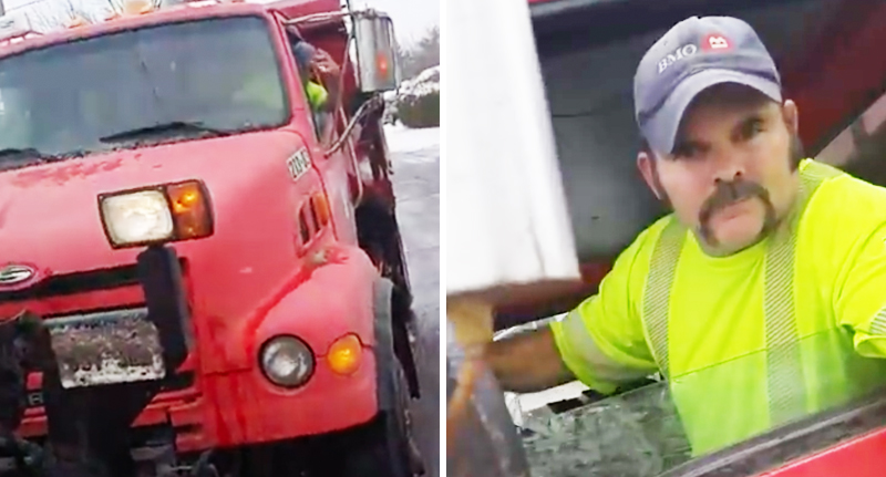 Teenage Kid Attempts To Start Fight With Snow Plow Driver, Gets Plowed