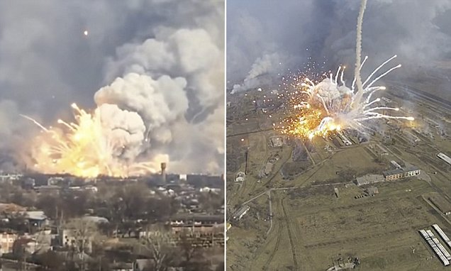 Ukrainan Warehouse Packed With Weapons Explodes, Missiles Fly Everywhere