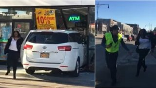 Woman Crashes Her Car Into A Gas Station, Goes Off And Chases Guys Filming Her