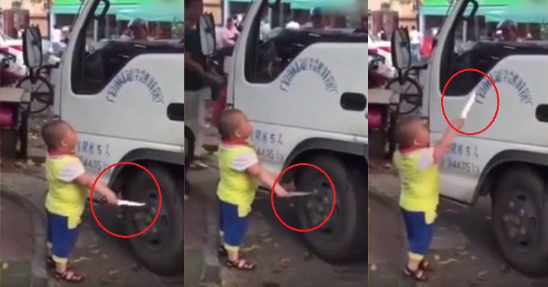 Knife Wielding Chinese Kid Threatens Truck Driver Who Is Blocking His Grandma's Stall