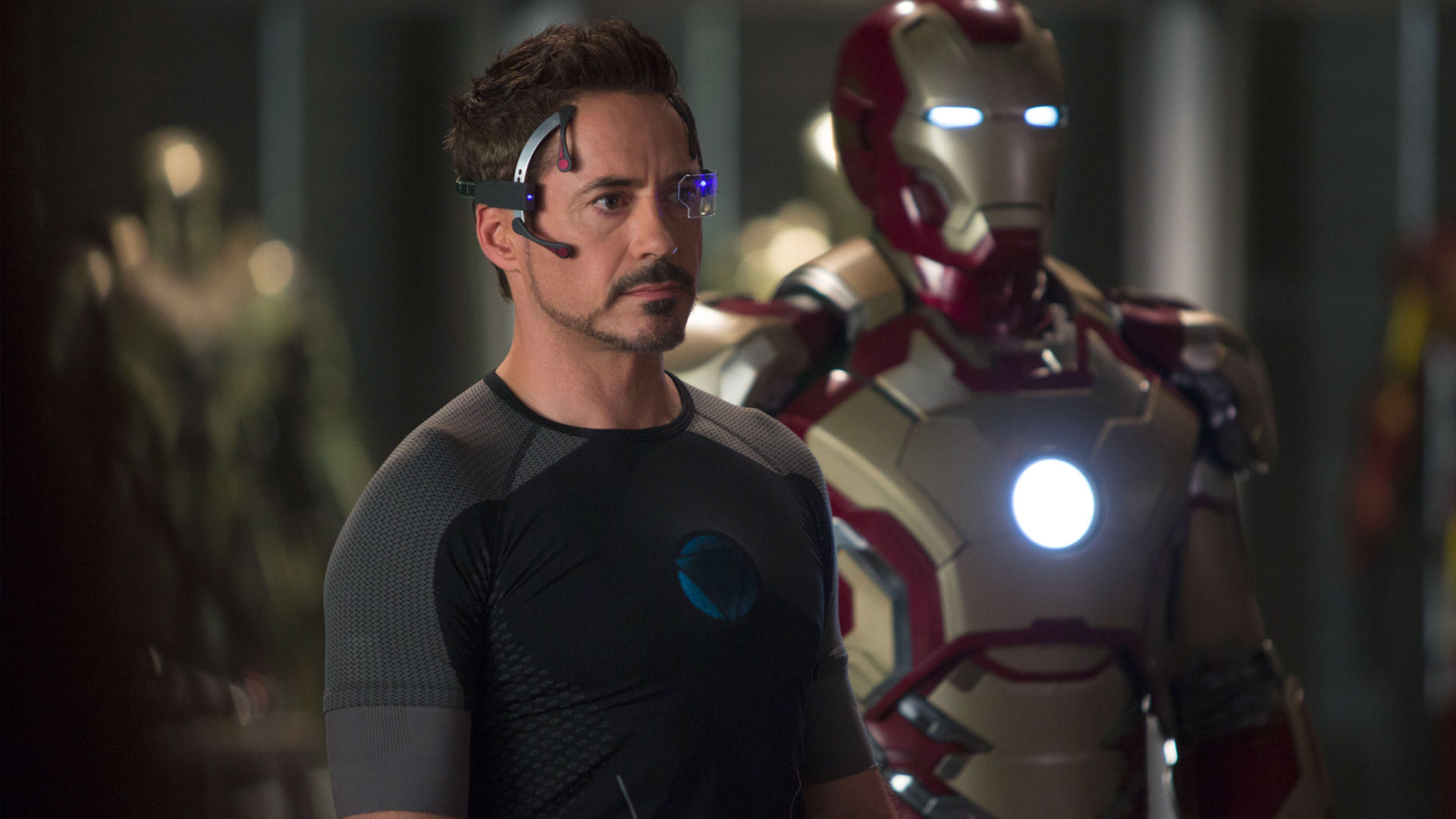 Robert Downey Jnr as Iron Man.