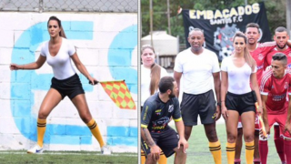 A Brazilian Lineswoman Sends Internet Into Frenzy After Wet T-Shirt Display