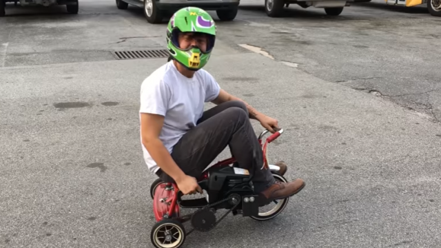 Two Guys Put A F*cken Chainsaw Motor On A Trike!