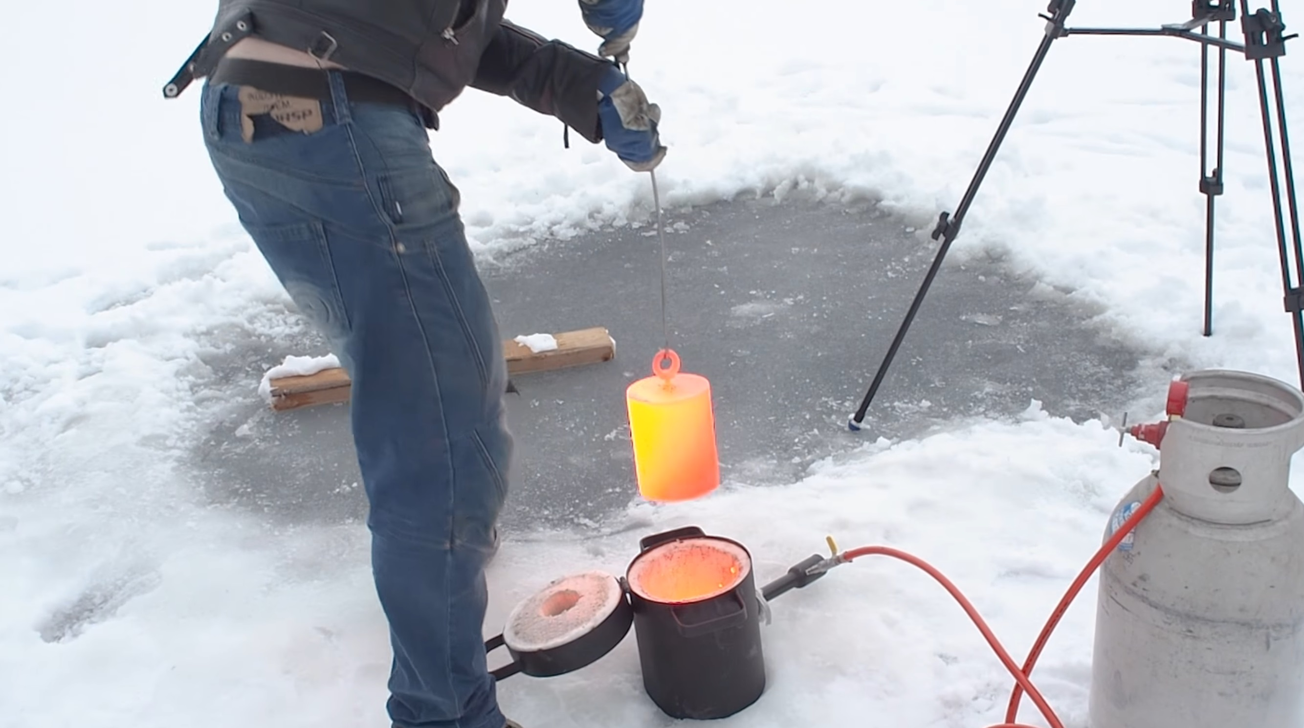 20kg Of Red Hot Steel Is Placed On A Frozen Lake In Finnish Experiment