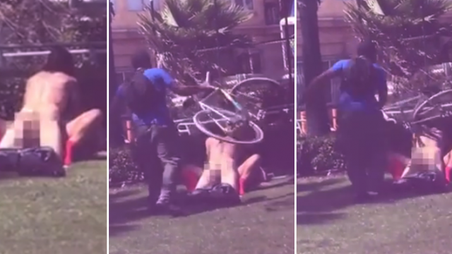 Man Cracks Dude On The Head With A Bicycle After Catching Couple Having Sex In Public Park