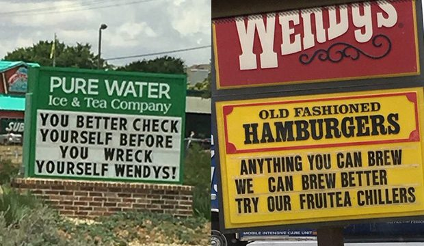 Sign War Between Wendy's And Pure Water Goes Viral