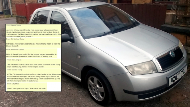Bloke Trying To Sell His Skoda Is Being Flooded With Offers From 'Celebrities'