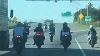 Dashcam Shows Group of Bikers Enter Destination F*cked After Blocking Off Highway