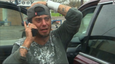 You've gotta love a happy ending. Aaron gets in touch with Dad. F*** you, Hurricane Harvey! (Credit: CNN)
