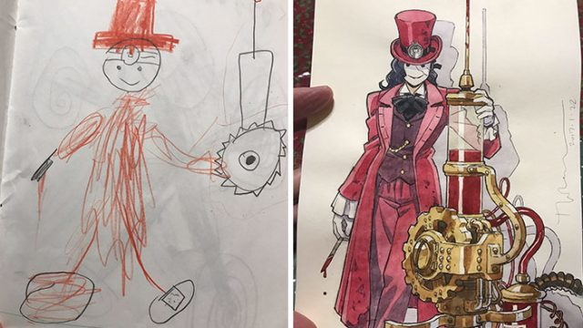 This Dad Turns His Sons' Doodles Into Anime Drawings And They're F*%king Awesome