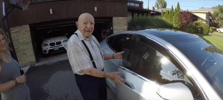 97 Year Old Grandpa Reacts To Riding In A Tesla For The First Time