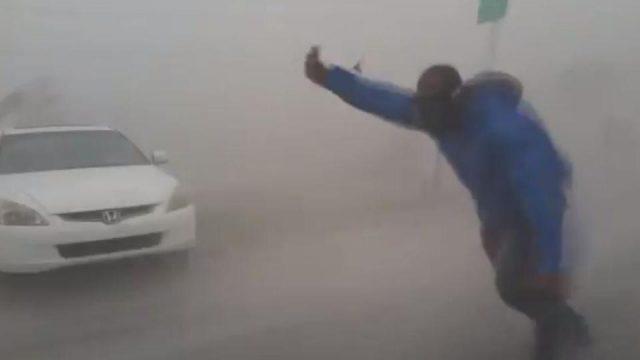 Extreme Meteorologist Leaves His Car To Take Hurricane Irma Head On