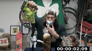 Dude Tries To Chug Six Beers In Under 40 Seconds Using A Leaf Blower