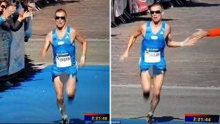Runner's Cock-And-Balls On Full Display As He Finishes Marathon