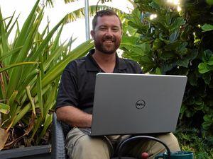Is that a massive laptop or is Luke tiny? Credit: Eliza Goetze