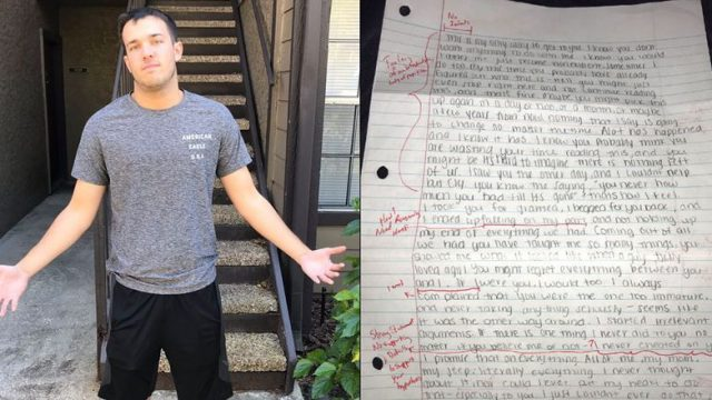 This Bloke's Ex Sent Him An Apology Letter And He Sent It Back Graded