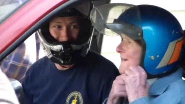 91 Year-Old Legend Fulfils His Dream of Crashing Through a Garage Door