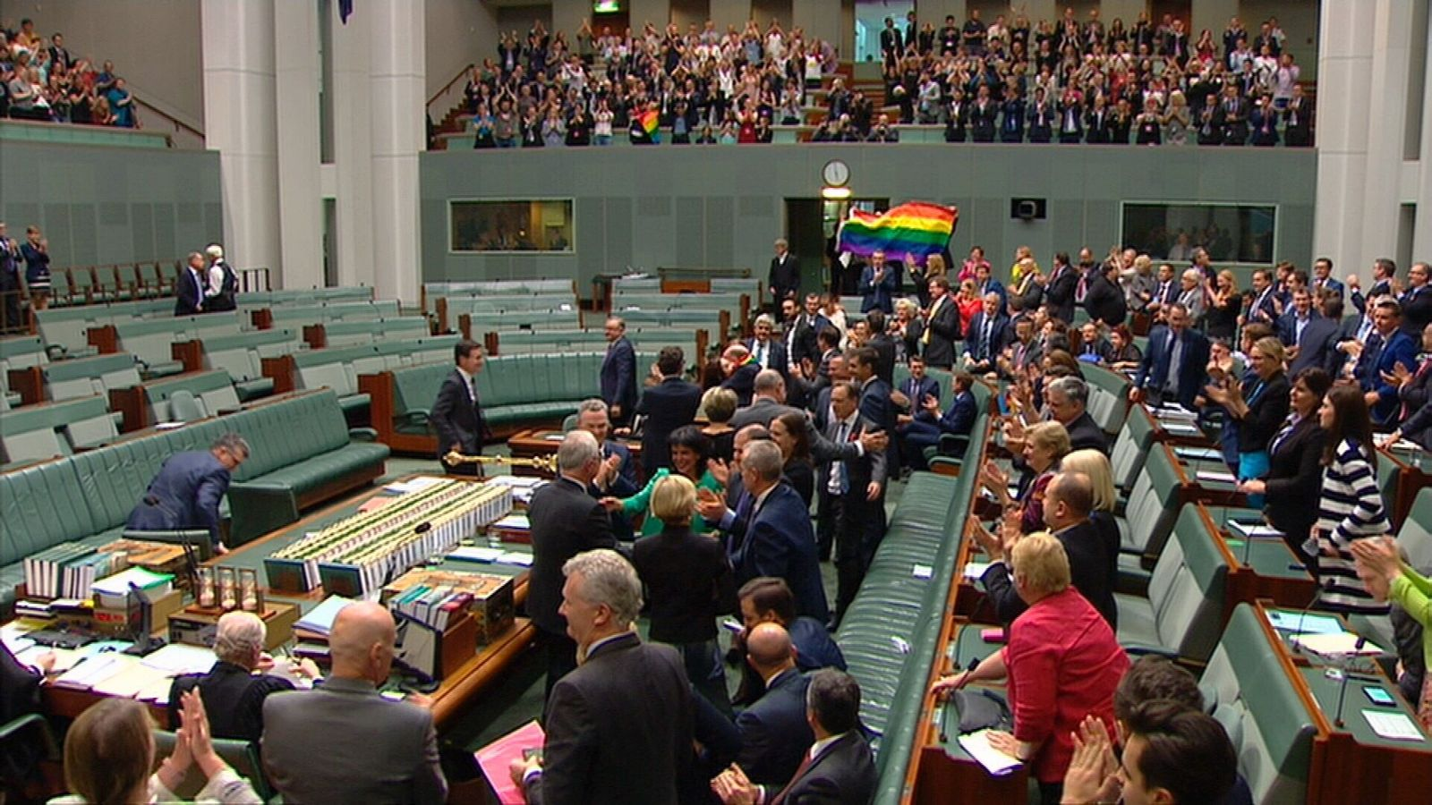 Parliament passed the law and the public gallery promptly broke into song. I presume it was YMCA. Credit: Getty