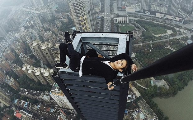 Wu was well known in China for stunts like this. Credit: Asia Wire