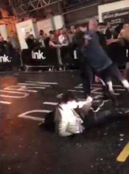 Lads getting knocked down like tenpins