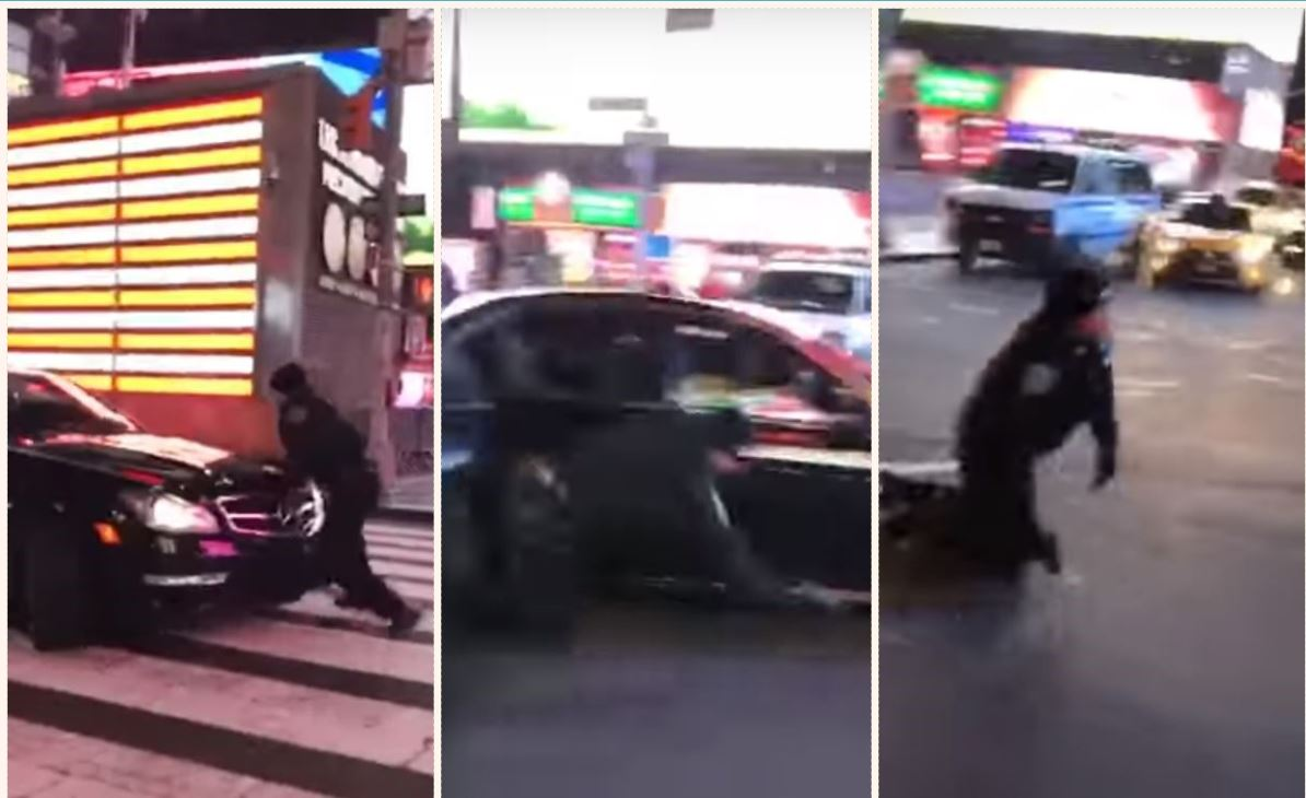 The brave cop tries to stop the reckless driver. Credit: Johnnie Ochocinco/Youtube