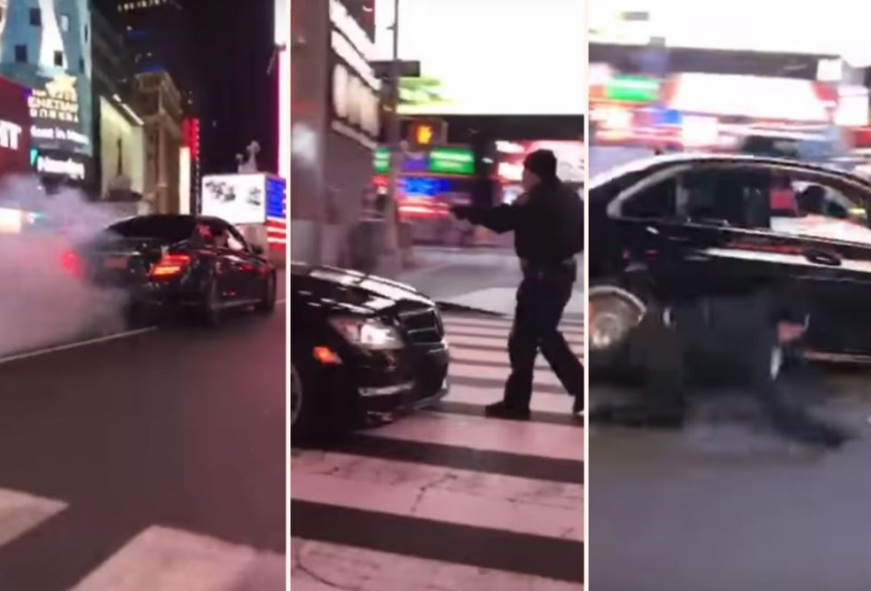 Incredible Video Shows NYPD Cop Get Hit By A Mercedes-Benz Drifting Through Times Square