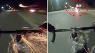Italian Bloke On Bicycle Uses Home Made Fireworks Launcher During Road Rage
