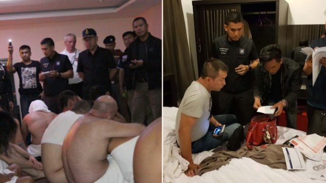 Tourists busted on camera doing the dirty during police raid on Thai swinger orgy