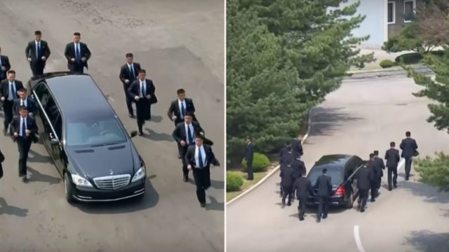 Kim Jong Un's bodyguards run alongside his limo as he heads for lunch