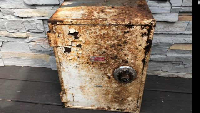 Couple finds buried safe in their backyard