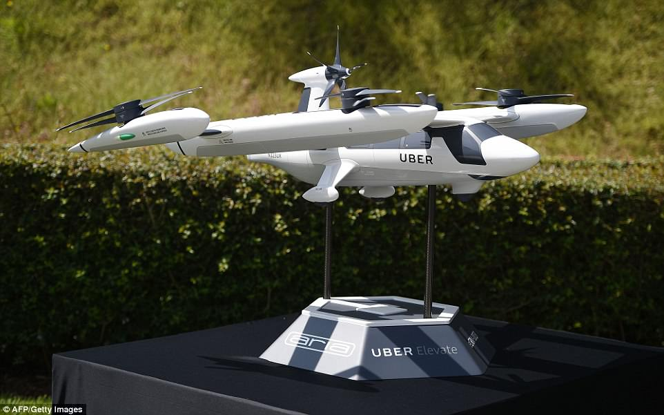 A miniature version of the proposed flying taxis. Credit: AFP/Getty