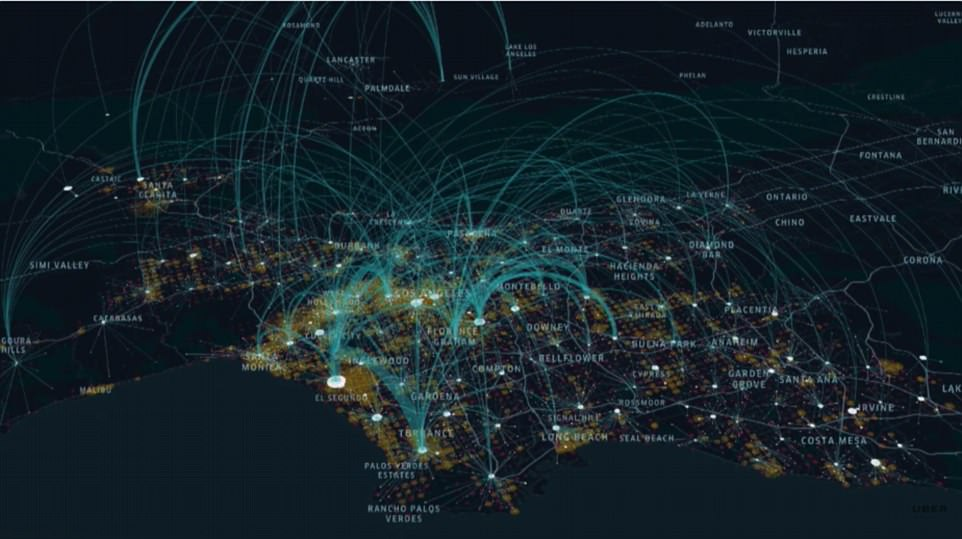 A potential flight map detailing just how much coverage these things would have. Credit: UberX