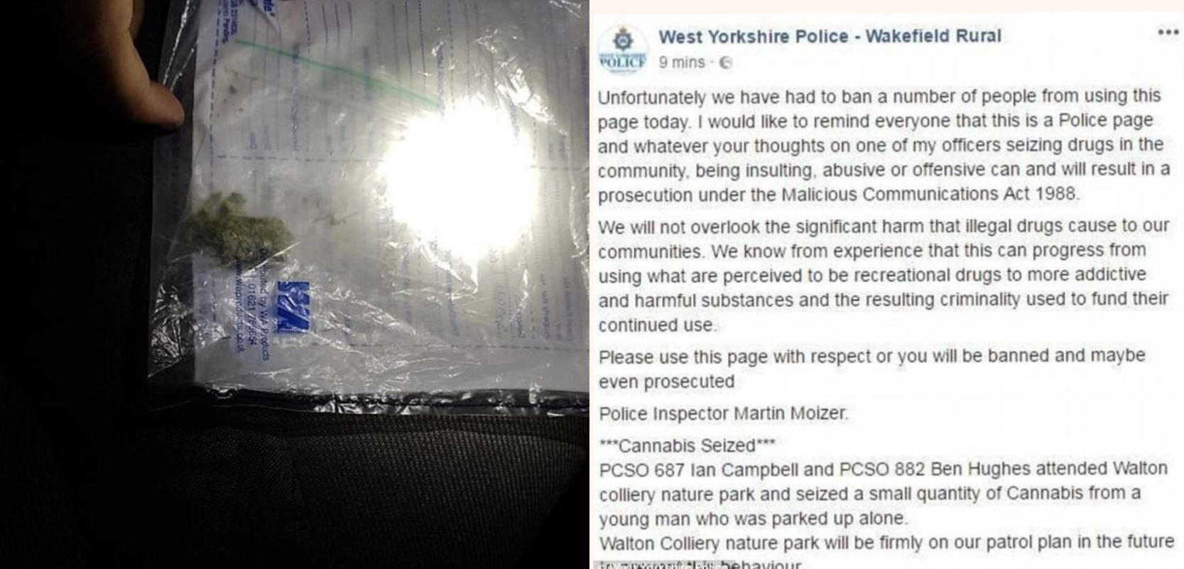 The Internet roasts police after posting tiny cannabis haul on social media