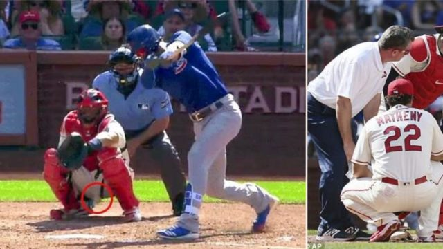 Catcher has emergency surgery after 160kmph baseball hits him in the nuts