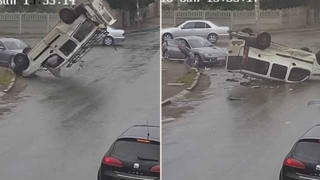 Bloke flies out of his own car window during accident and casually walks away