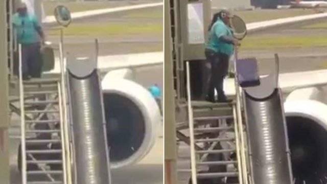 Passenger captures footage of baggage handler carelessly tossing luggage into the air