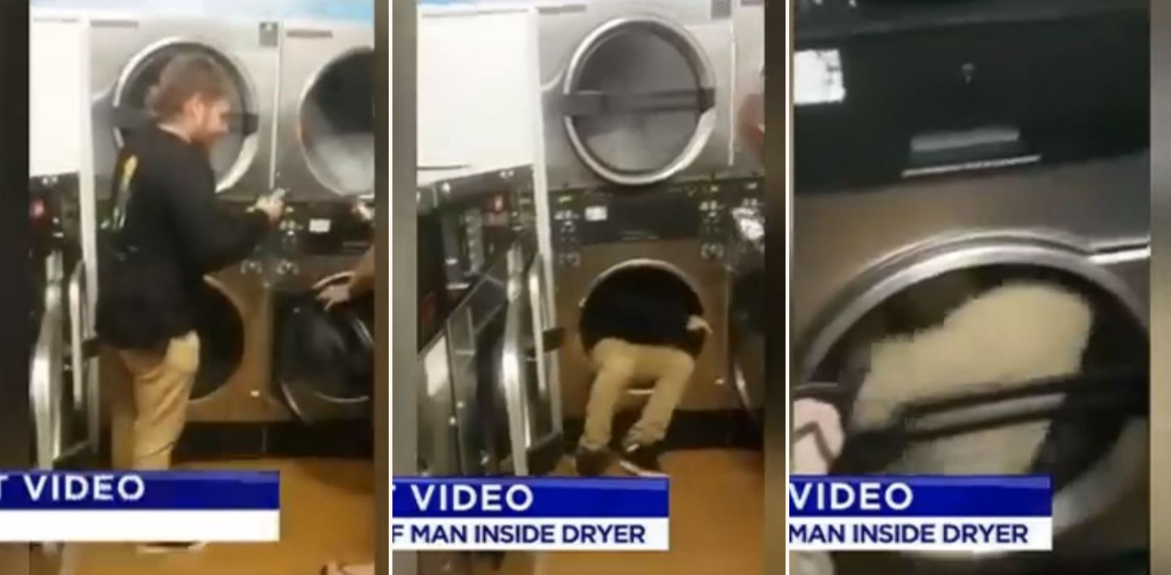 Aussie bloke goes for a spin in a laundromat dryer