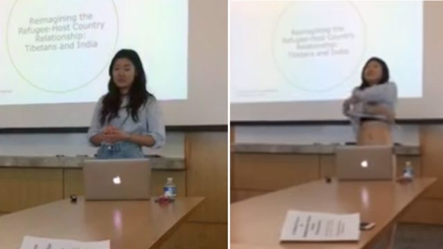 Student strips off during presentation after professor questions her clothing
