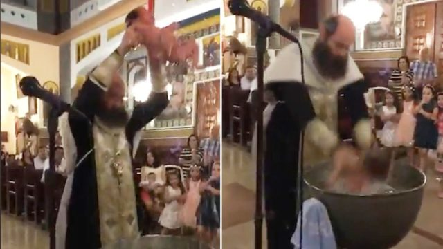 Orthodox Bishop throws baby around like a basketball during baptism