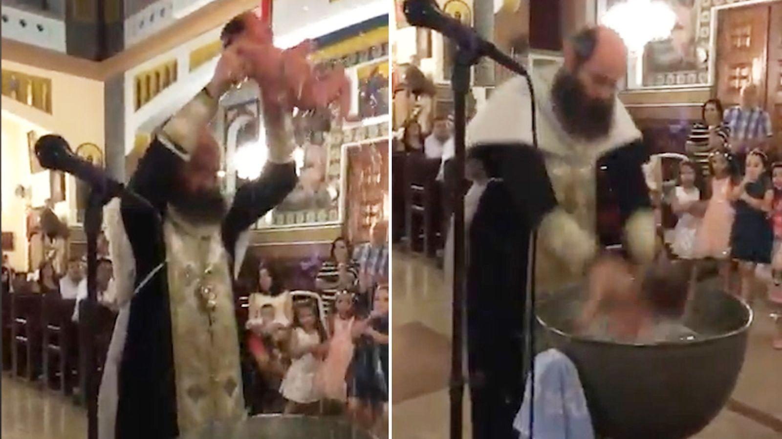 Orthodox Bishop throws baby around like a basketball during baptism