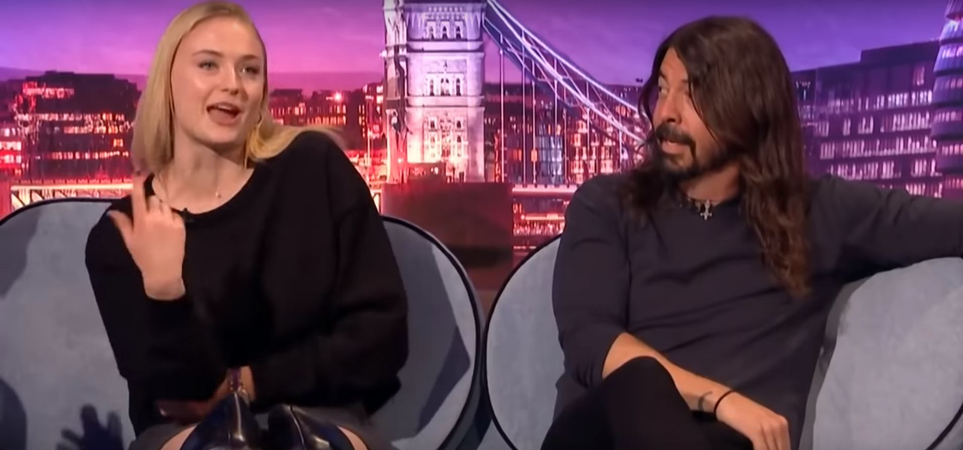 Grohl's like f**k, this is some good weed. Credit: Late Late Show