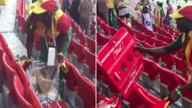 Senegal fans celebrate World Cup victory by cleaning the stadium
