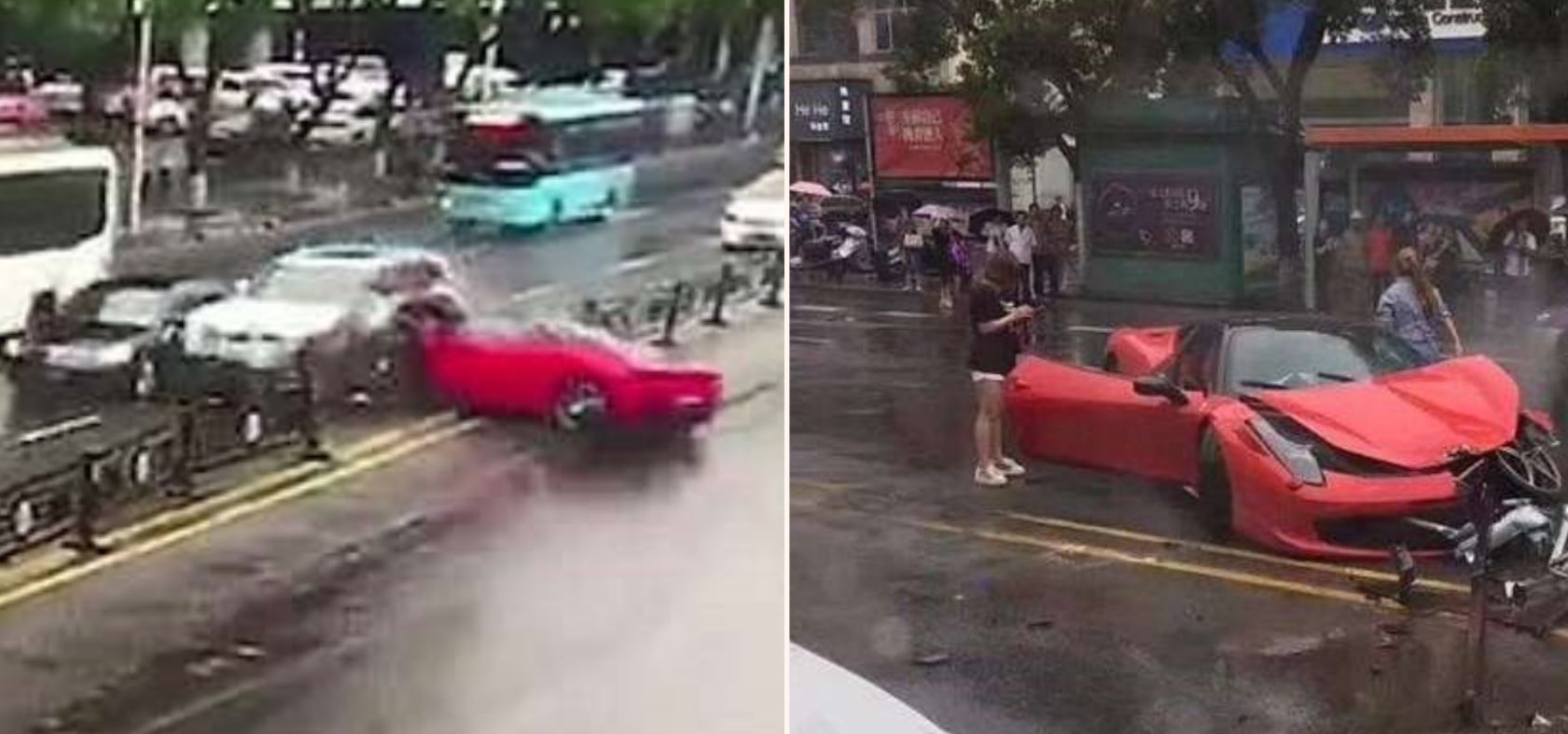 Dodgy driver sends new Ferrari 458 sideways into oncoming traffic minutes after renting it