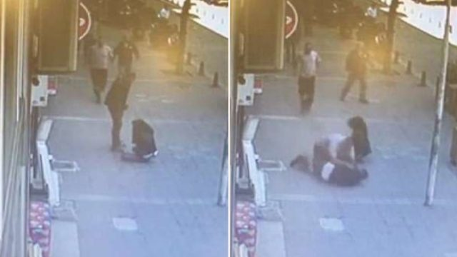 Legend spots man beating his ex-wife in the street so knocks him out with a flying headbutt
