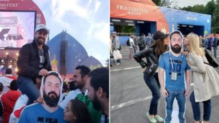 A cardboard cut-out man keeps popping up at the World Cup