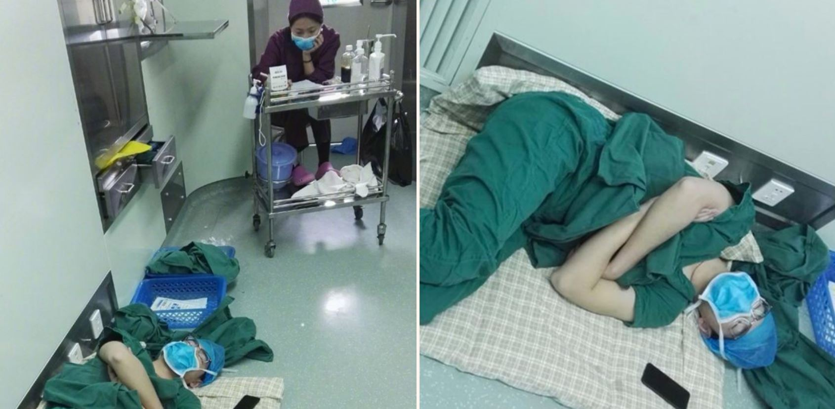 Stunning photos of Doctor passed out on the floor after performing 5 operations in 28 hours