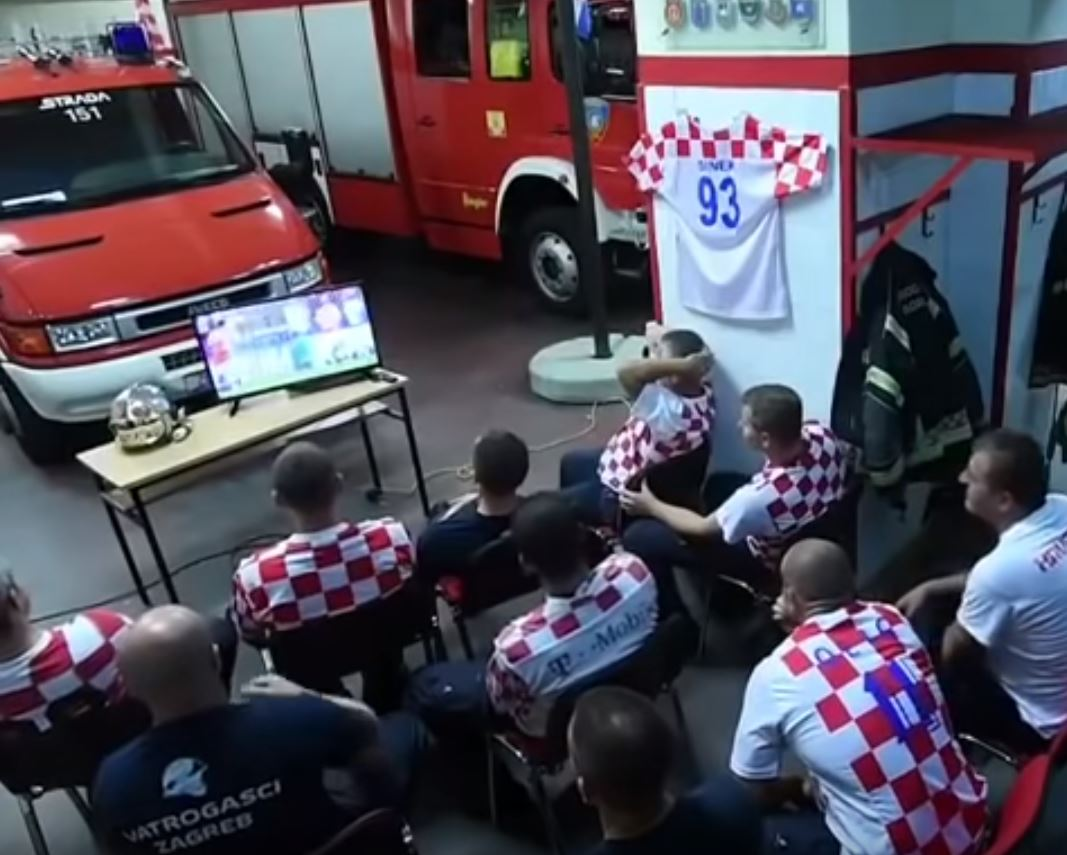 These Croatian Fire-fighters were glued to the set right before Rakitic's match-winning penalty. Credit: Zagreb Fire Department